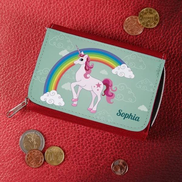 Mädchen Geldbörse mit Einhorn, Regenbogen und Name