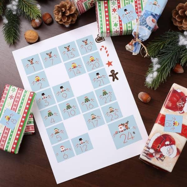 28 Aufkleber für den DIY Adventskalender