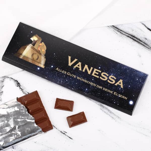 Individuellleckereien - 300g Schokolade zum 18. Geburtstag mit Text und Name - Onlineshop Geschenke online.de