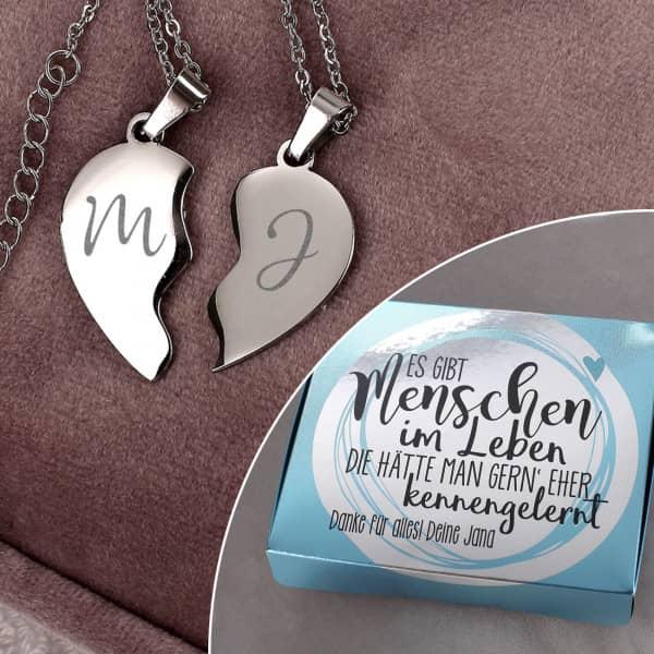 Individuellschmuck - Freundschaftsketten mit Gravur und Geschenkbox Es gibt Menschen im Leben - Onlineshop Geschenke online.de