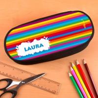 Stiftebox mit Wunschname und Regenbogenmotiv