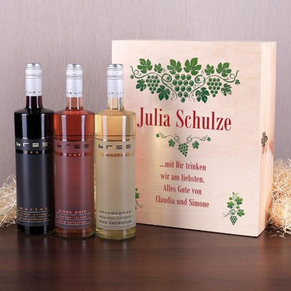 Weingeschenkset Rebe mit 3 Flaschen Bree Wein und Wunschtext