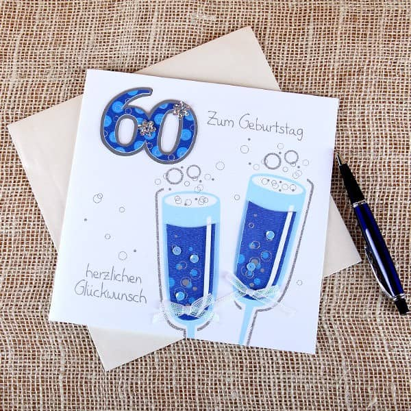 Handgefertigte Grußkarte zum 60.Geburtstag in Weiß