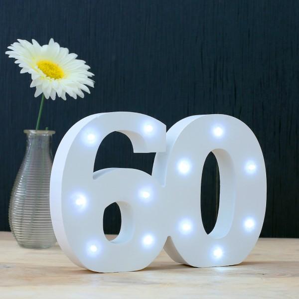 LED Deko-Zahl 60 aus Holz