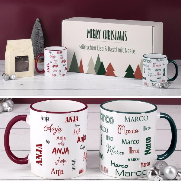 - Weihnachtsset mit Kaffee, 2 Namenstassen und Geschenkbox - Onlineshop Geschenke online.de