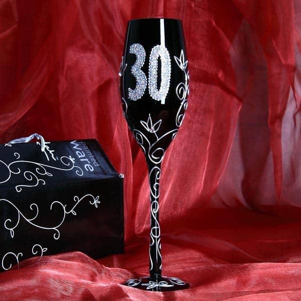 schwarzes Champagnerglas zum 30. Geburtstag