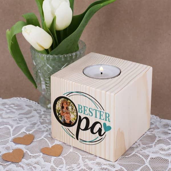Holz-Teelichthalter für den Besten Opa mit Foto bedruckt