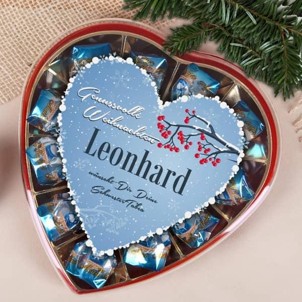 Genussvolle Weihnachten - Pralinen mit Wintermotiv und Wunschtext