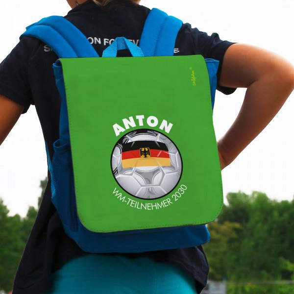 Blauer Rucksack mit Fußballmotiv und Wunschname für Kinder