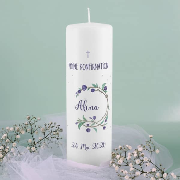 Konfirmationskerze Blütenkranz mit Name, Datum und Wunschtext
