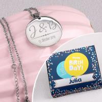 Gravierte Halskette in 3 Farben und Persönlicher Geburtstagsbox