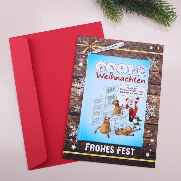 Weihnachtskarte mit Buch Coole Weihnachten