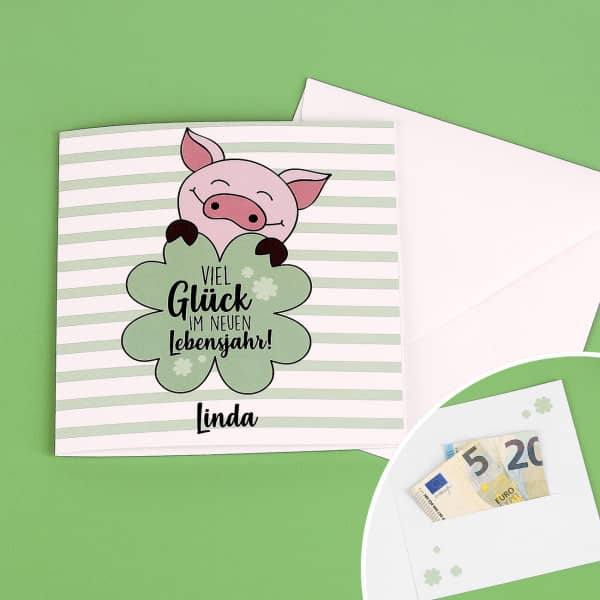 Geburtstagskarte für Geld oder Gutscheine mit Name und Wunschtext