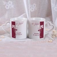 Paartassen zur Goldenen Hochzeit mit Wunschnamen