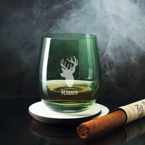 Whiskeyglas für Jäger mit Name und Hirschkopf