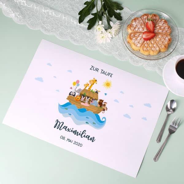 - Arche Noah Platzdeckchen zur Taufe im 5er Set - Onlineshop Geschenke online.de