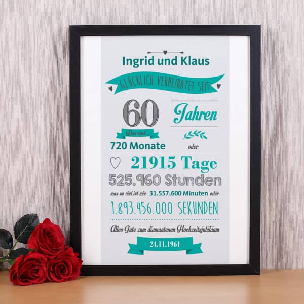 Bilderrahmen zur diamantenen Hochzeit mit Namen und Datum bedruckt