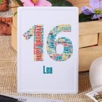 Blechpostkarte zum 16. Geburtstag mit Name