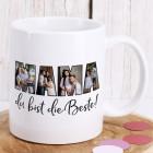 Fototasse - Mama du bist die Beste - mit 4 Bildern bedruckt