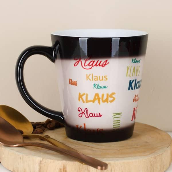 Konische Magic Tasse bedruckt mit Name in verschiedenen Schriftarten und Farben