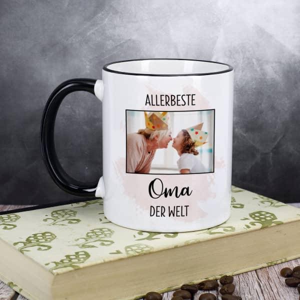 Tasse mit Schwarzen Rand und Henkel für Frauen