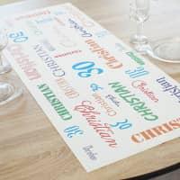 Geburtstagsparty Tischläufer mit Name und Alter - in zwei Längen