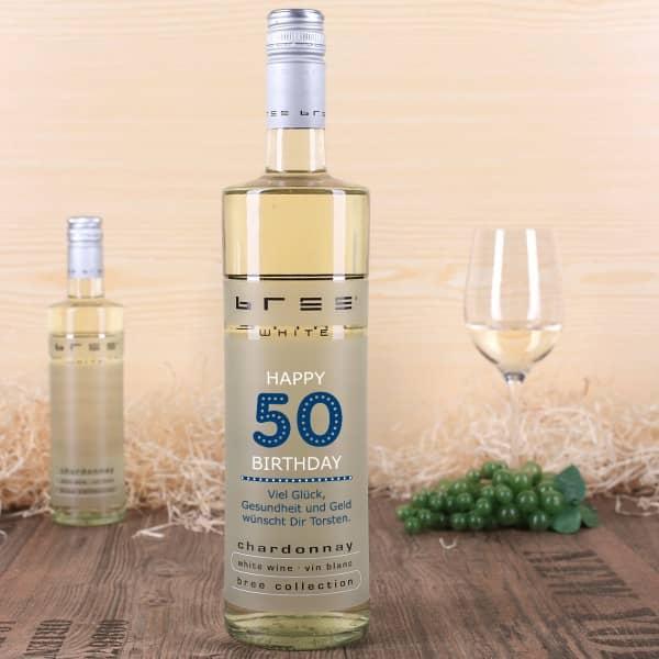 Weinflasche Happy Birthday 50 - mit persönlichen Glückwünschen