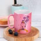 Knuddelhorn Tasse in Rosa-Metallic mit Ihrem Wunschtext