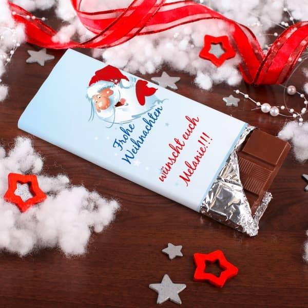 Weihnachtsschokolade mit bedruckter Banderole