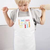 Kinderschürze mit Namensaufdruck in 4 Farben