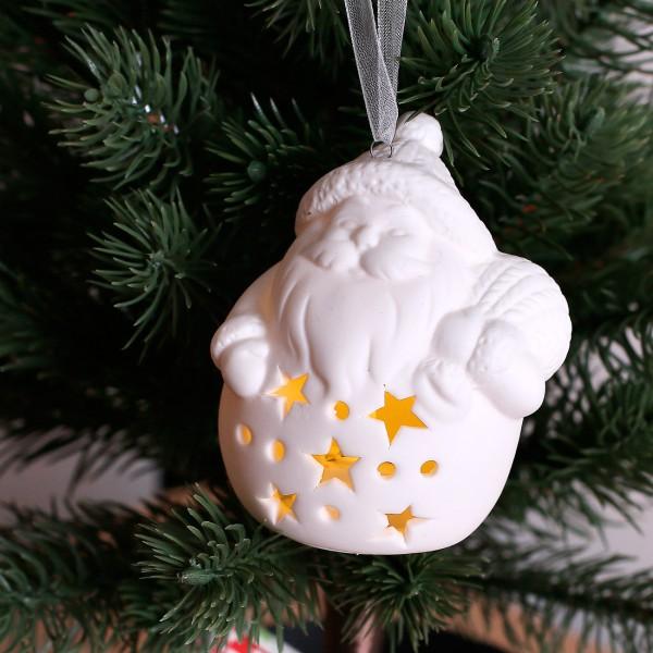 Keramik Weihnachtsfigur mit LED Weihnachtsmann mit Sack