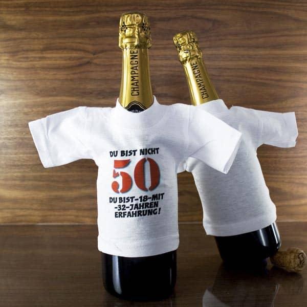 weißes Shirt für Flaschen mit Spruch