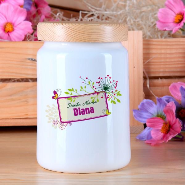 Keramikdose mit Danke Mama Motiv und Name der Mutter