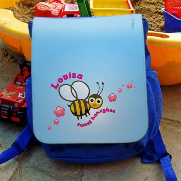 blauer Kinderrucksack mit Biene und Wunschname