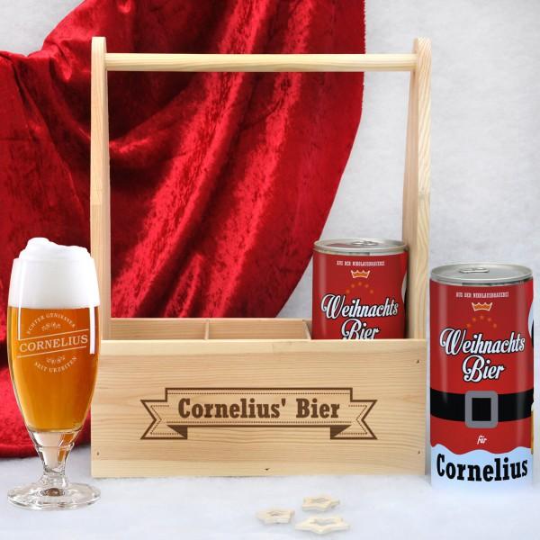 Weihnachtsgeschenk Bierset Pilsglas Bierdosen Holzträger