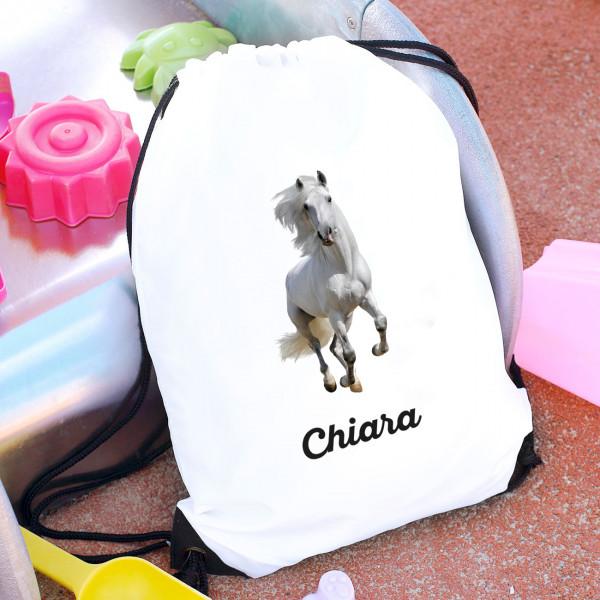 Individuellbabykind - Sportbeutel mit weißem Pferd und Name - Onlineshop Geschenke online.de
