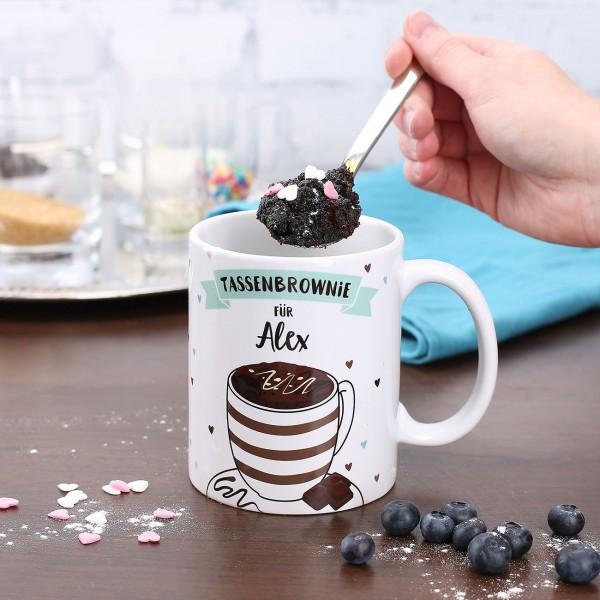 Tasse mit Tassenbrownie Rezept und Name bedruckt