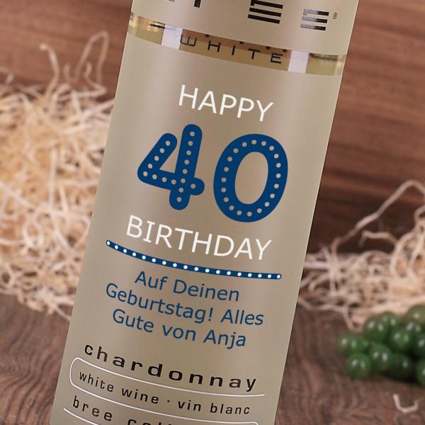 Zum 40. Geburtstag Weißwein mit individuellem Aufdruck