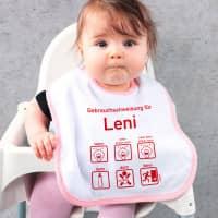 Lätzchen mit Gebrauchsanweisung für Baby-Mädchen