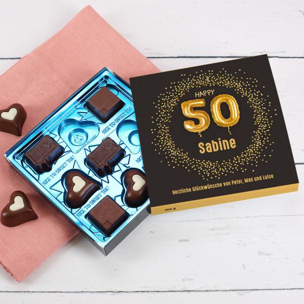 Happy 50 - Lindt Pralinen zum 50. Geburtstag mit Name und Wunschtext, 100g