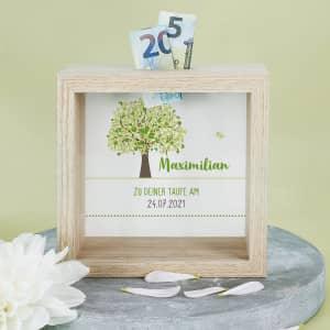 Personalisierte Spardose für Taufe, Kommunion, Konfirmation