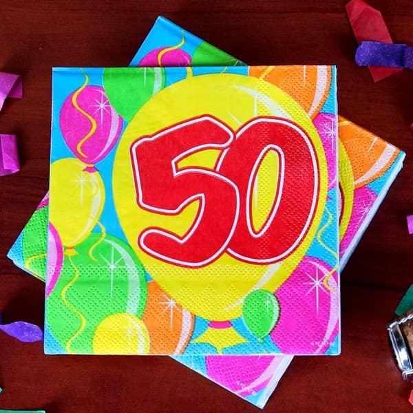 Geburtstagsservietten Ballon zum 50.