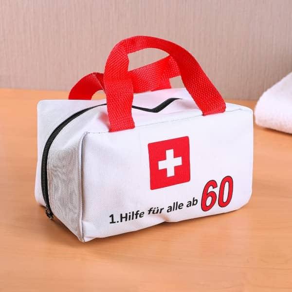 kleine tasche f r die erste hilfe zum 60 geburtstag. Black Bedroom Furniture Sets. Home Design Ideas
