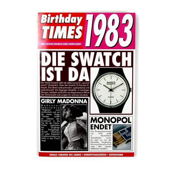 Birthday Times Karte mit Sound 1983