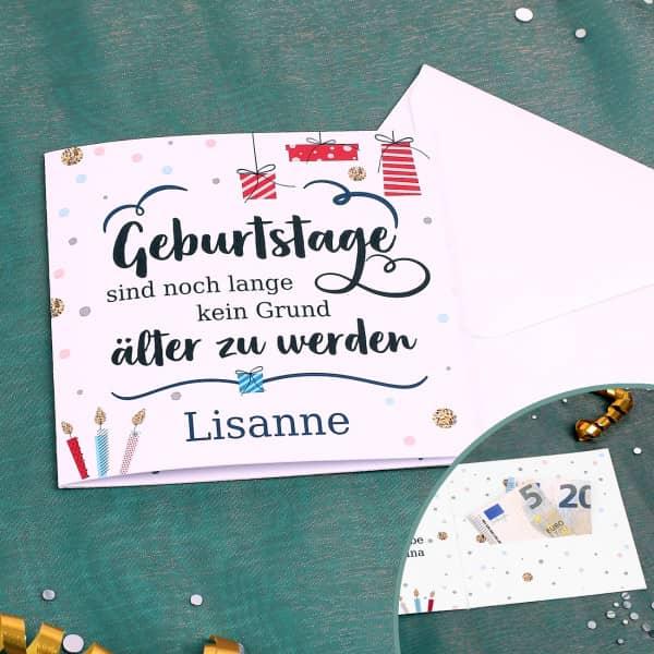 Geldkarte zum Geburtstag mit Name und Wunschtext
