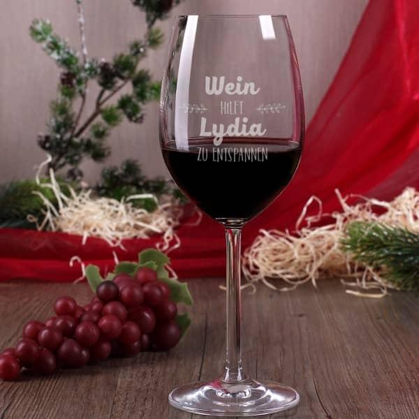 Weinglas mit Gravur Wein hilft entspannen