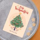 Postkarte - Frohe Weihnachten -  mit Weihnachtsbaum, Sternen und Wunschtext