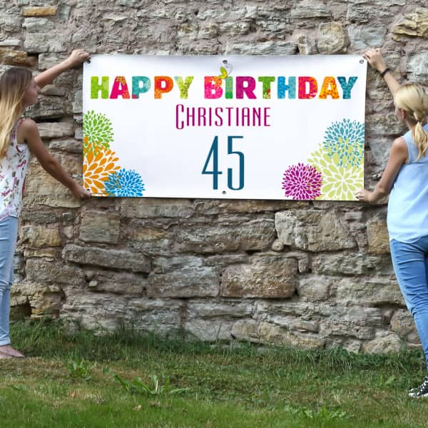 Buntes Happy Birthday Geburtstagsbanner mit Nam...