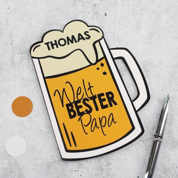 Bierkrug - Klappkarte Weltbester Papa - Geschenke zum Vatertag