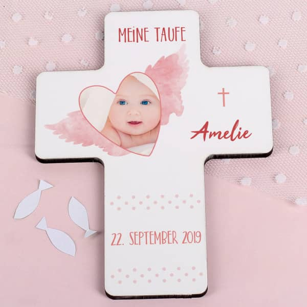 Individuellbabykind - Taufkreuz mit Foto im Herzrahmen für Mädchen mit Name und Datum - Onlineshop Geschenke online.de